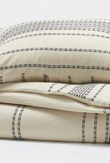 Ripple Stripe Duvet Cover, King Ivory & Black