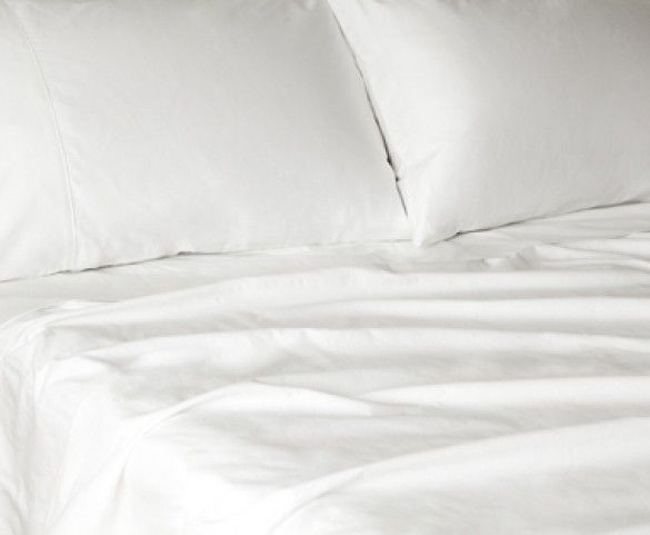 Glo Percale Sheets (White), Queen Flat