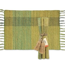 Vetiver Table Linens- Green Blocks