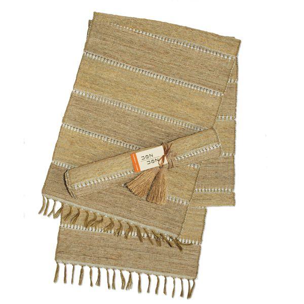 Vetiver Table Linens- Beige Stripe