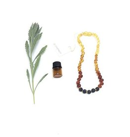"""Canyon Leaf Raw Baltic Amber Children's Necklace with Lava Stone 12"""""""