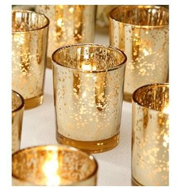 Rustic Gold Glass Tealight Candle Holder