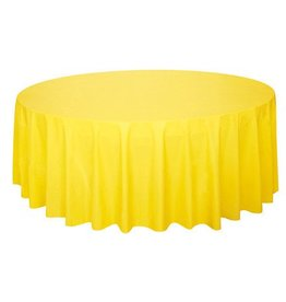 Yellow Round Plastic Tablecover   84u0027