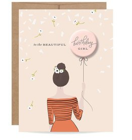 Inklings Paperie Brunette Birthday Girl Button