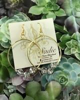 Sadie Handcrafted Jewelry Hoop Earring 3 Stone