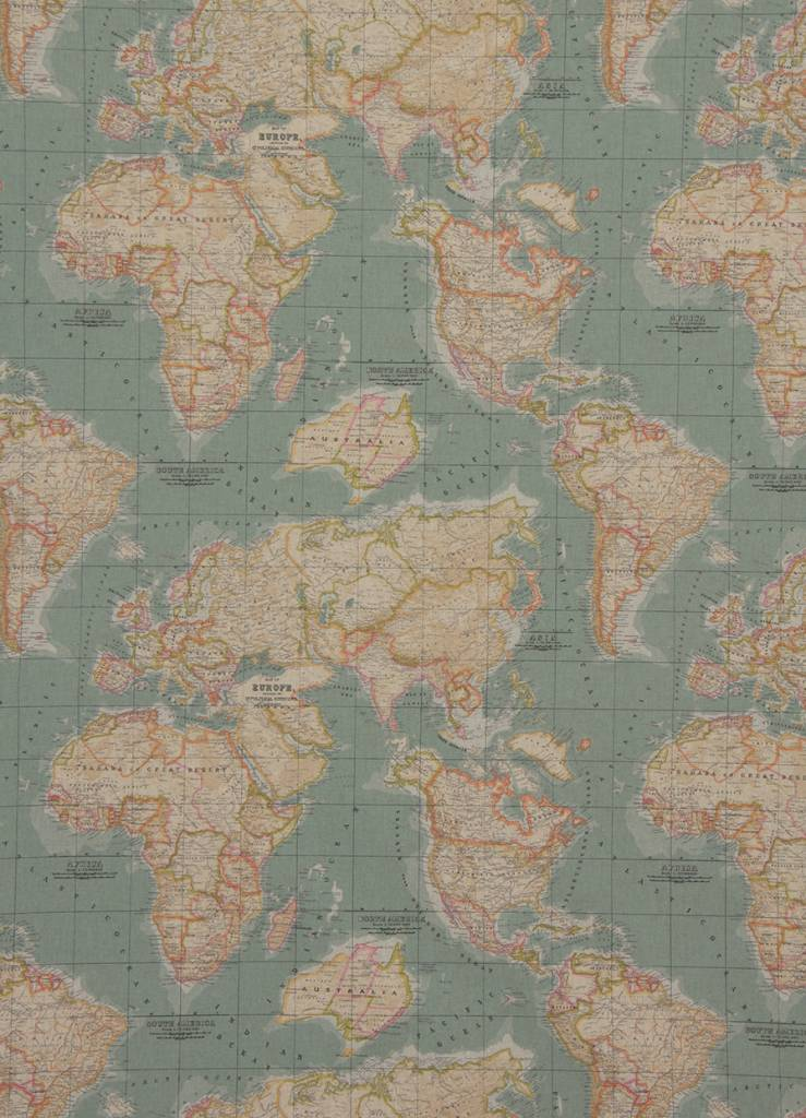 Vintage World Map Fabric by Annie Sloan