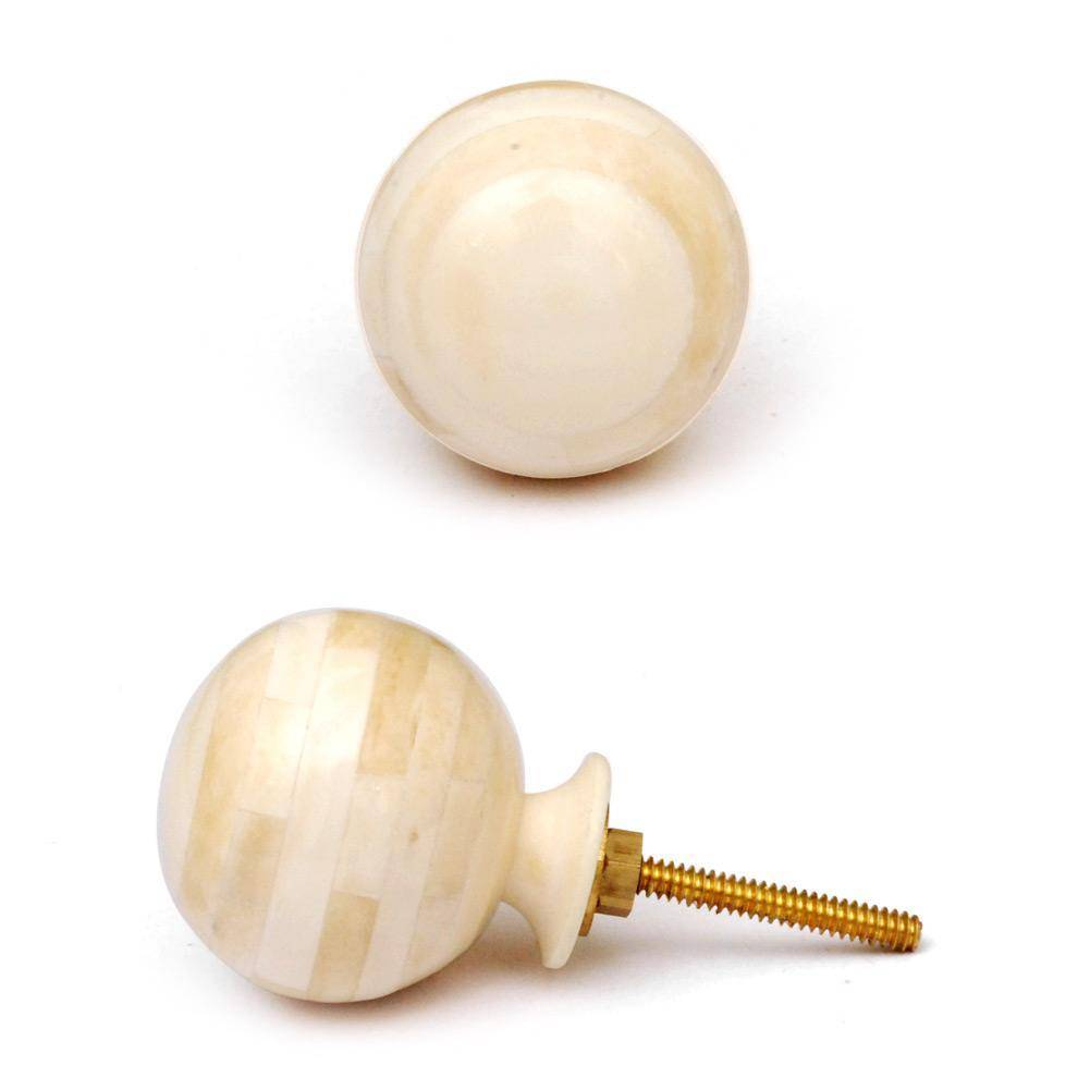 Knobs- Cream & White Bone smooth