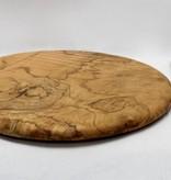 Round Olive Wood Cheese Platter w Spreader