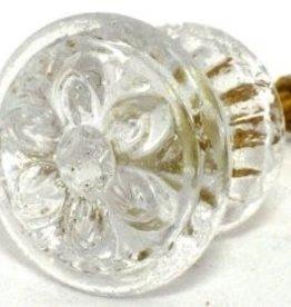 knob Clear Glass flower Lg