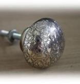 Knob Silver Floral