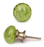Knobs- Green Glass Round
