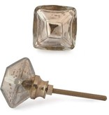 Knobs- Silver Metallic Glass Sq