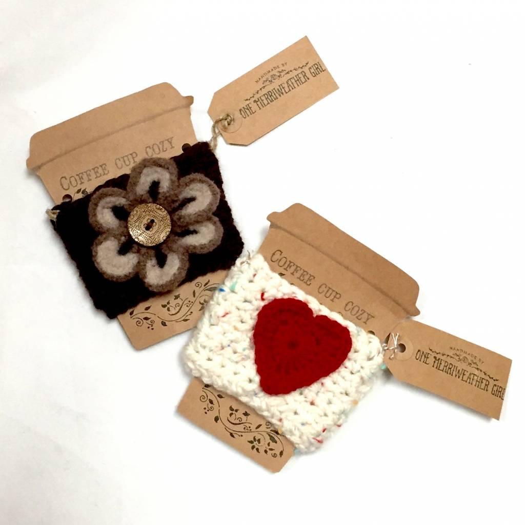 Handmade Crochet Coffee Cup Cozy (w/ embellishment)