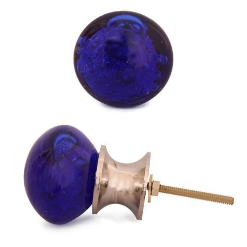 Knobs- Dark Blue Glass Round