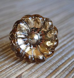 Glass Flower Knob Amber