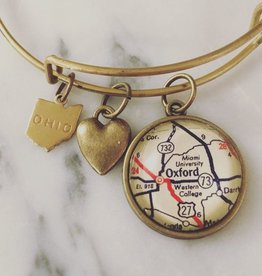 Map Charm Bracelet -Brass