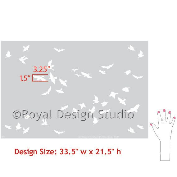 Flock of Birds Stencil