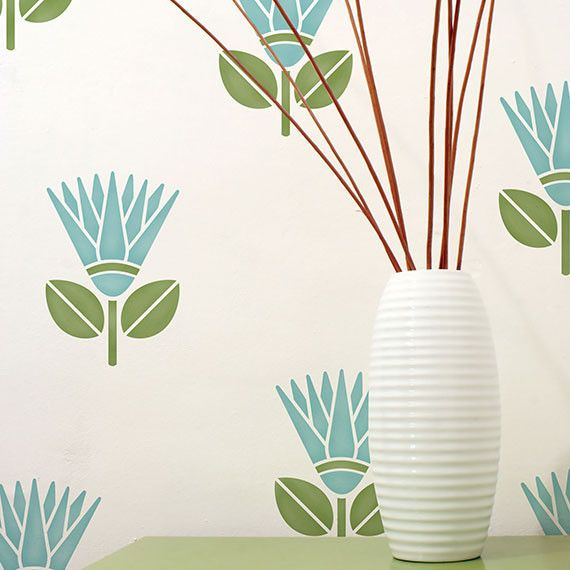 Lg African Protea Flower Stencil