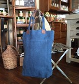 Indigo Washed Linen Deep Tote