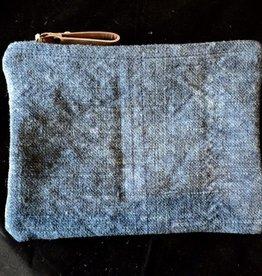 Indigo Washed Linen Pouch