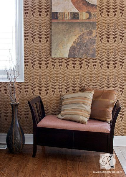 Lg African Plumes Stencil