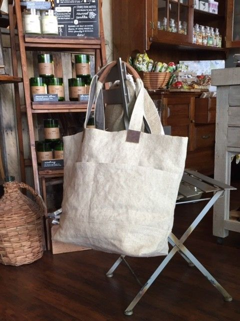 Almond Washed Linen Wide Tote