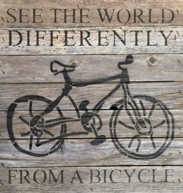 See the World Bicycle Wood Sign