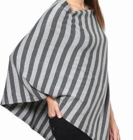Lightweight Modern Stripe Cotton Poncho