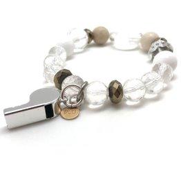 Mini Silver Whistle Crystal & Stone Bracelet