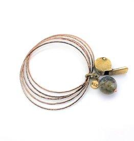 Vintage brass toy whistle w tumbled turquoise set of 5-bangles bracelet