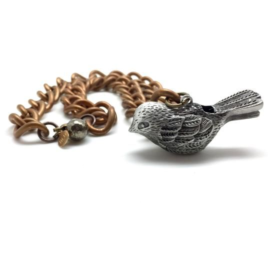 Antiqued Bird Whistle Necklace w Heavy Link Brass Chain