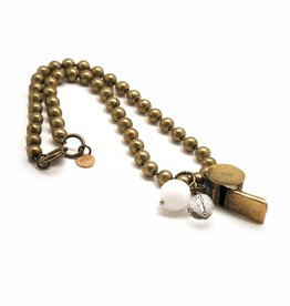 Vintage Brass Toy Whistle w Crystal Long Necklace