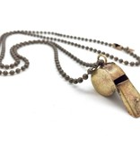 Vintage Brass Toy Whistle Necklace Plain