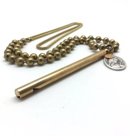 Antiqued Brass Pipe Whistle Necklace w Religious Medal
