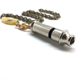 Brass Bobby Whistle Necklace w Polished Yellow Jade.