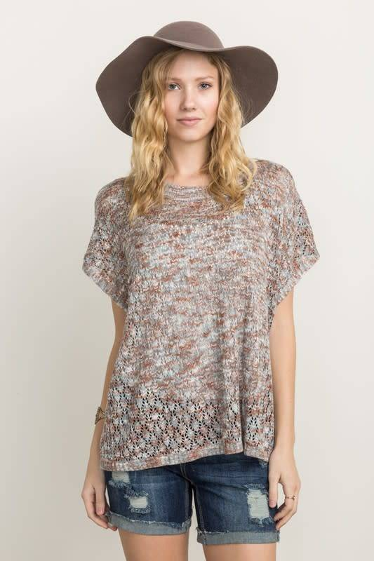 Taupe Mesh S/S Sweater Top