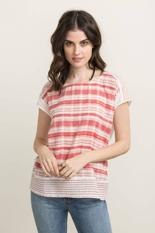 Red & White Stripe Embroidered Yoke Boxy Top