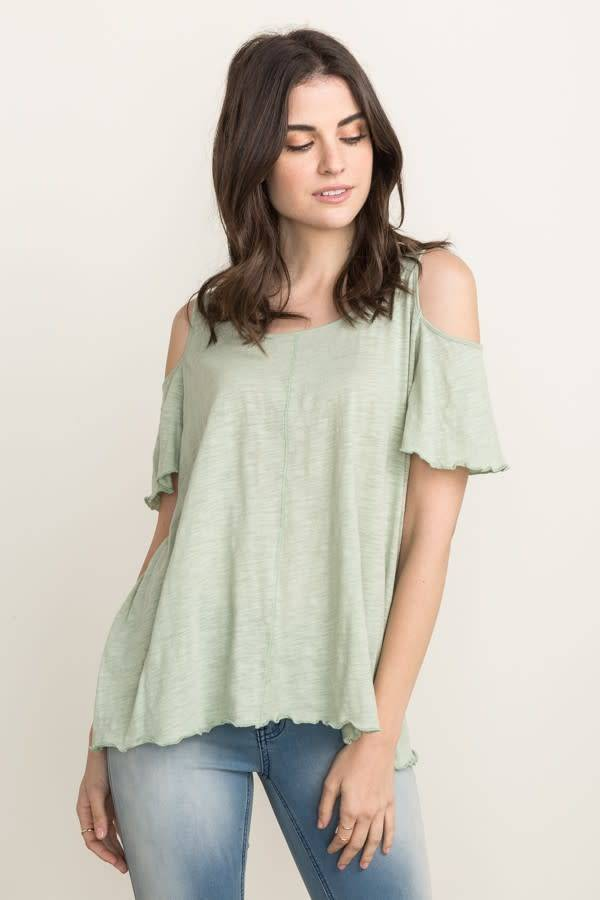 Lt Sage Marble Wash Cold Shoulder Top