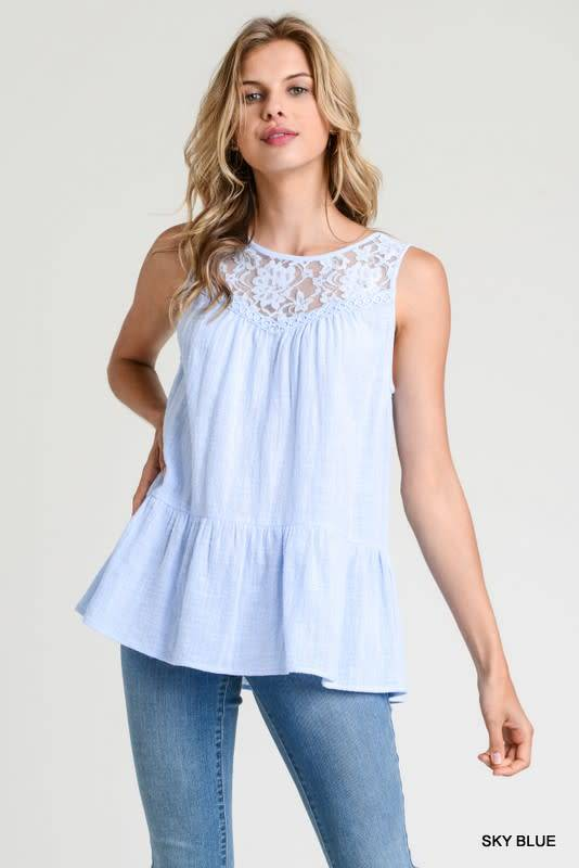 Lace Peplum Hem Sleeveless Top