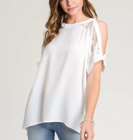 Lace Cold Shoulder Dolman Sleeve Top