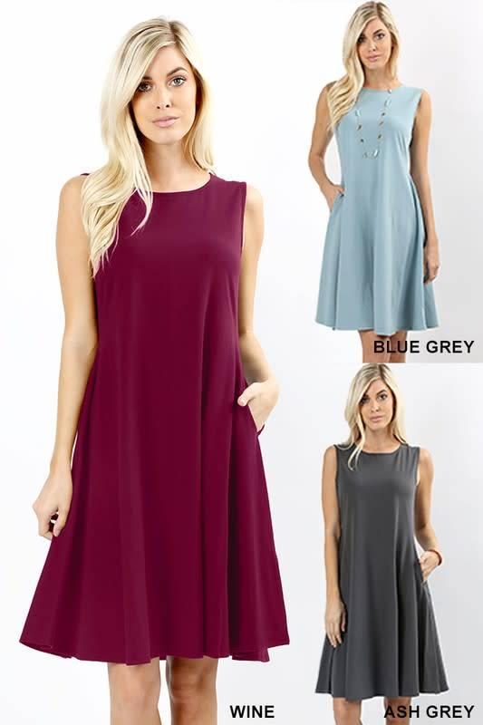 Cotton A-Line Dress w Pockets
