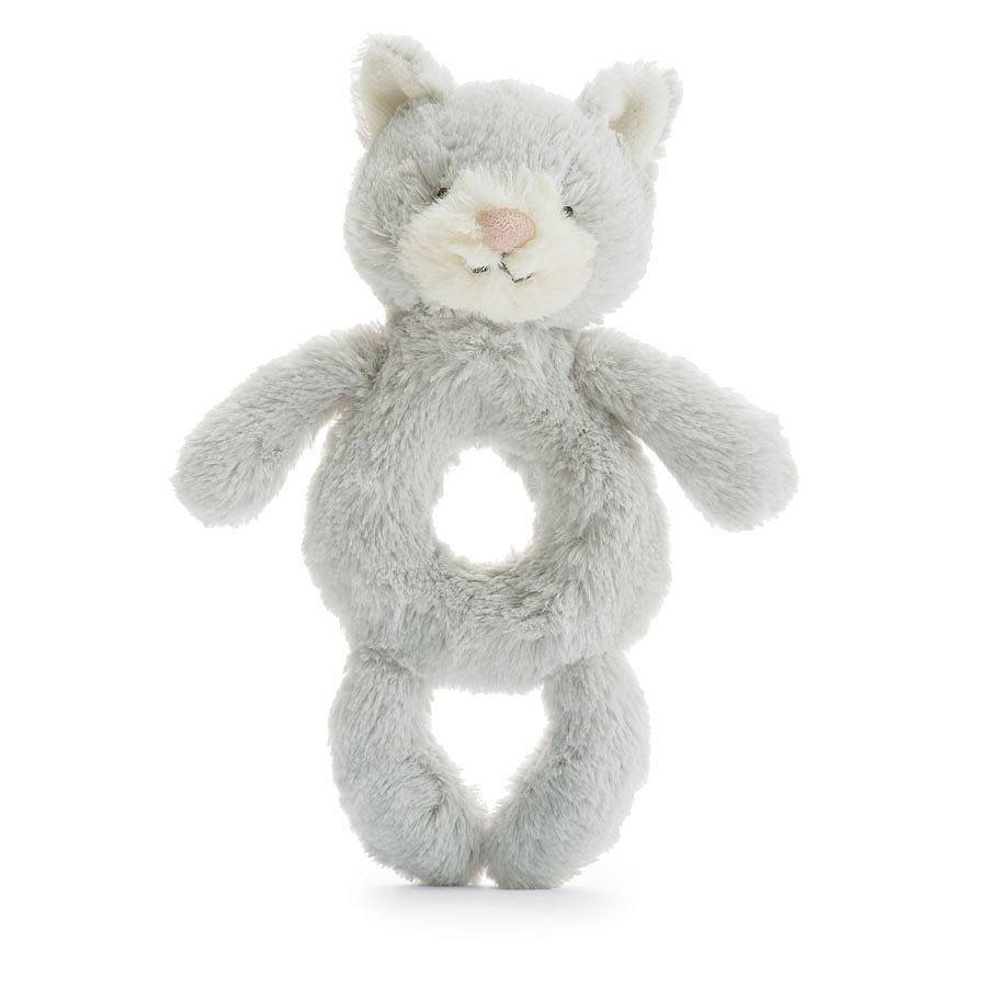 Bashful Kitty Grey Ring Rattle Grabber