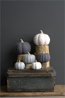Lg Felted Wool Pumpkin Neutrals