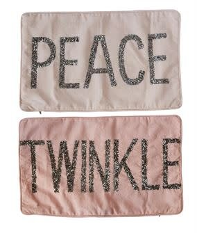 Beaded Satin Pillow (Peace or Twinkle)