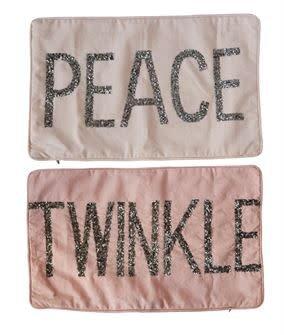 Fleurish Home Beaded Satin Pillow (Peace or Twinkle)