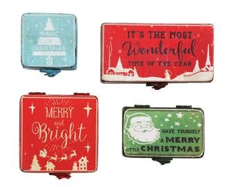Lg Vintage Style Metal Cmas Box (choice of two red ones)