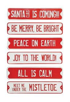 Red & White Embossed Tin Street Signs (various)