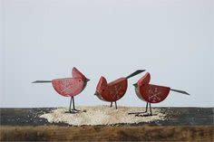 Red Wooden Cardinals (3 styles) Red & White Cmas