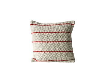 Natural Colored Textured Pillow w Red Stripes