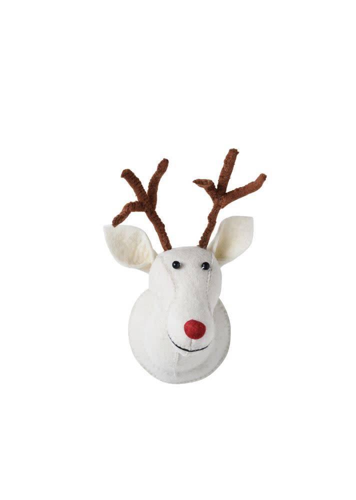 White Wool Felt Reindeer Head